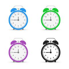 Alarm clock. Set icons. Flat design style. Vector illustration.