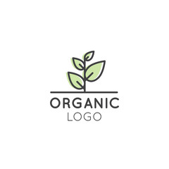 Vector Icon Style Illustration Logo for Organic Vegan Healthy Shop or Store. Green Tree Plant with Leafs Symbol