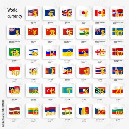 World Currency Symbols Icon Set With Country Flags