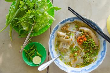 Vietnamese cuisine - Pork noodle with fresh vegetable