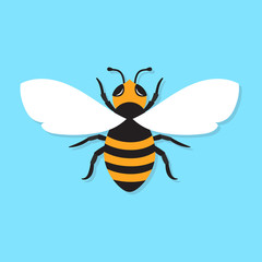 Bee icon, vector flat illustration.