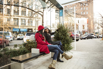 Female friends waiting for bus with Christmas tree