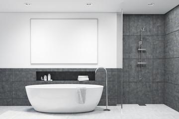 Bathroom with dark gray tiles