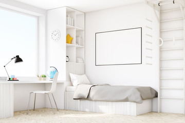 Child room with a bed and a table, corner