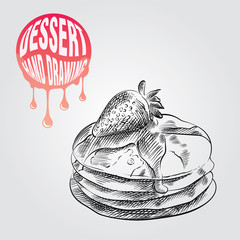 Pancakes hand drawn sketch isolated on white background and pink blob with drops. Dessert sketch elements vector illustration