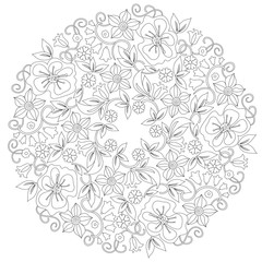 Doodle floral round ornament in black and white. Page for coloring book: relaxing job for children and adults. Zentangle drawing.