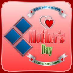 Holiday design, background with retro 3d text, heart shapes, ribbon, and squares for Mother's day Celebration; Vector illustration
