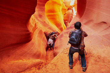Tourist in Lower Antelope Canyon near Page, Arizona, USA