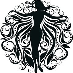 vector stylized image of silhouette a girl in curls