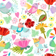 Beautiful floral seamless pattern of bird and flowers. Bright illustration, can be used for creating card, invitation card for wedding,wallpaper and textile.