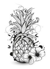 Ananas mit Hibiskusblüten Graffiti