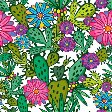 Awesome vector fresh pattern of cacti and flowers in amazing colors. Vector backdrop, summer template. Use for wallpaper,pattern fills, web page background.