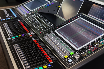 Large panel of the stage controller with screens