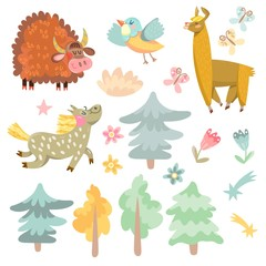 Vector set of cute animals from farm.
