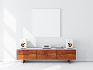 Fototapeta Square white canvas Mockup hanging on the wall, hi fi micro system on bureau,3d rendering