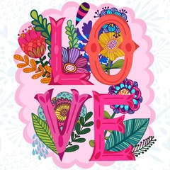 "Vector amazing Illustration of Floral Letters ""Love"""