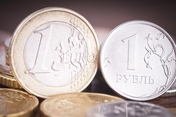 euro and ruble coins