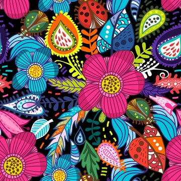 Awesome floral pattern go bright flowers, plants, branches and graphic elements.