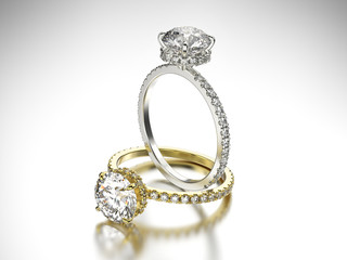 3D illustration two gold and silver rings with diamonds
