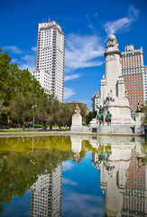 Madrid. Monument to Cervantes, Don Quixote and Sancho Panza. Spain