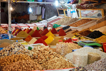 TAROUDANT, MOROCCO FEBRUARY 27, 2016  Traditional market with moroccan spice.