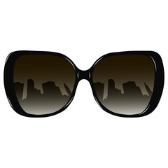 Glasses with reflection of a city