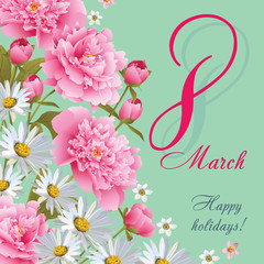 8 March Women's Day greeting card template. Happy women's day. EPS 10