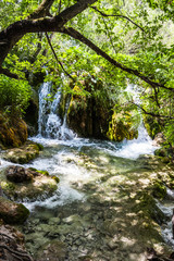 Cascades waterfalls under the tree branches. Plitvice, National Park, Croatia