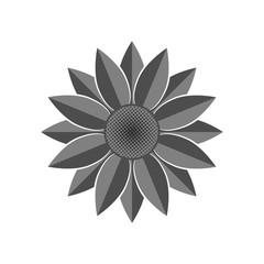 Flower icon. Grey Sunflower