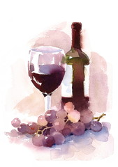 Glass of Red Wine Bottle and Grapes Watercolor Han Painted Food and Drink illustration
