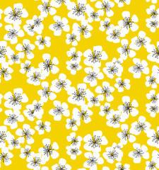 sakura blossom seamless pattern on sunny yellow background. elegant naive spring floral design element for invitation, card, poster, greetings, wedding.