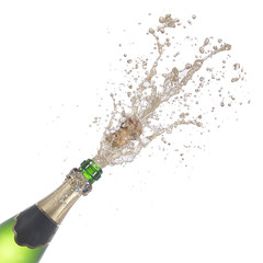 bottle of champagne popping its cork