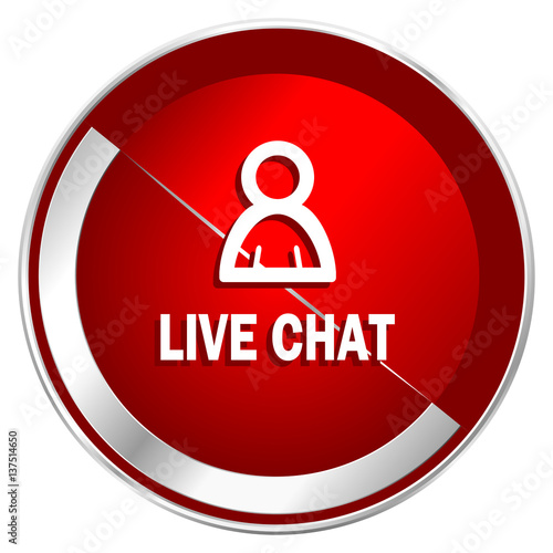 live chat red web icon metal shine silver chrome border round button isolated on white. Black Bedroom Furniture Sets. Home Design Ideas