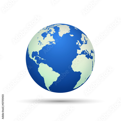 Wall mural Illustration of the earth isolated on a white background.
