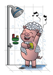 Pig taking shower