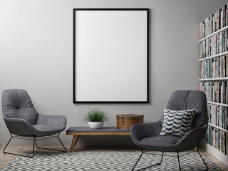 Blank poster, Scandinavian design interior, 3d illustration