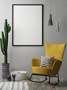 Blank poster, Scandinavian design interior, 3d illustration