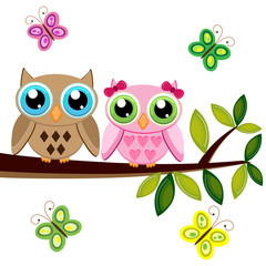 Two owls on a branch with butterflies