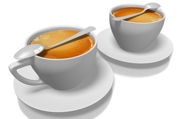 3D two coffee cups with plates and spoons.