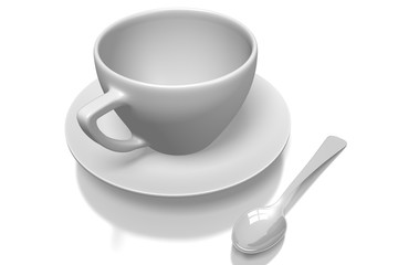 3D empty coffee cup, spoon, plate.
