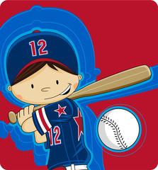 Cute Cartoon Baseball Boy