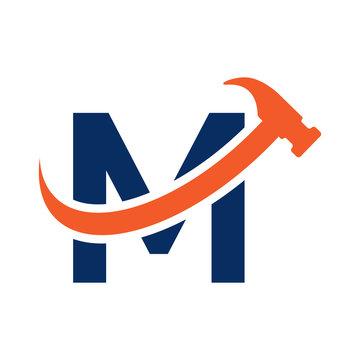 M Letter - Swoosh Hammer Logo Simple