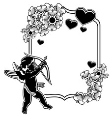 Black and white frame with silhouettes of Cupid and hearts. Raster clip art.