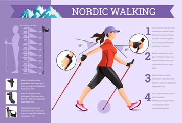 Vector illustrated infographics set with Nordic Walking data. Wall mural