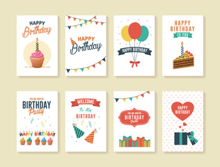 Set of Birthday Greeting and Invitation Card