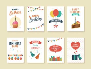 Set of Birthday Greeting and Invitation Card