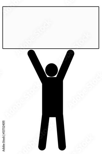 ボードを持つ人のイラスト 黒fotoliacom の ストック写真と