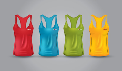 Vector illustration of fitness tank top for women.