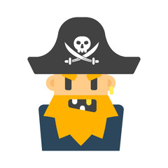 Captain pirate character vector illustration.