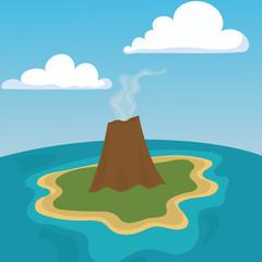 Mountain volcano eruption lava nature landscape vector illustration.